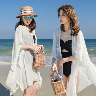 fashion Chiffon loose summer seaside beach jacket swimsuit outer cover-up mid-length sunscreen cardigan wholesale NHXW217885's discount tags