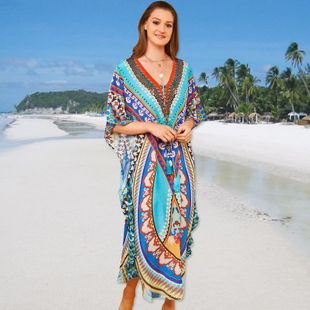 summer  fashion new positioning beach long skirt loose large size robe-style holiday skirt bikini blouse nihaojewelry wholesale NHXW217887's discount tags