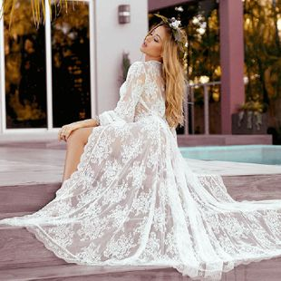 fashion  new wave lace lace loose sunscreen beach cardigan long skirt holiday wear swimsuit outside smock nihaojewelry wholesale NHXW217891's discount tags