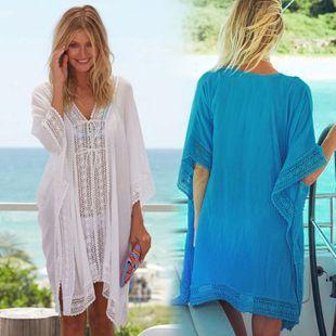 fashion summer new Chiffon Lace Loose Large Size Sunscreen Beach Cardigan Skirt Bikini Swimsuit Outside smock wholesale NHXW217892's discount tags