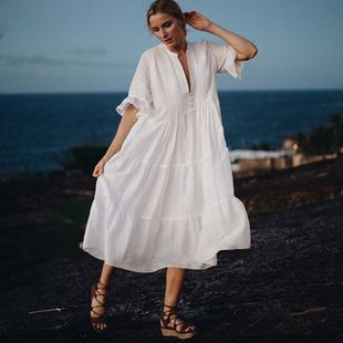 summer fashion simple  loose dress cotton  blouse seaside holiday long skirt beach sunscreen swimsuit nihaojewelry wholesale NHXW217894's discount tags