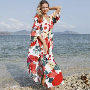 New  fashion four-sided elastic safflower long cardigan belt belt beach sunscreen bikini bikini blouse swimsuit outside smock nihaojewelry wholesale NHXW217896's discount tags