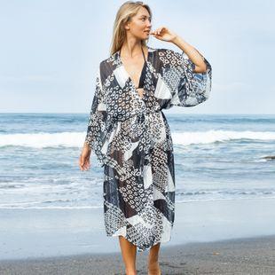 New black and white geometric circle stripe jacquard beach sunscreen bikini swimsuit blouse wide loose shirt jacket nihaojewelry wholesale NHXW217898's discount tags