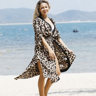 New fashion simple  big leopard point cardigan loose long cardigan beach sunscreen jacket bikini coverall swimsuit smock wholesale NHXW217899's discount tags