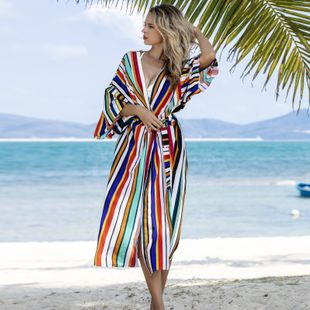 summer fashion new loose color stripe cardigan beach skirt bikini blouse swimsuit outside cardigan sunscreen clothing holiday skirt wholesale NHXW217900's discount tags