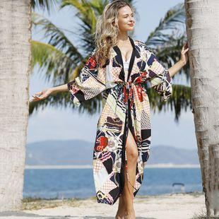 summer fashion  new chain plaid cardigan sunscreen clothing beach jacket cardigan bikini swimsuit cover-up wholesale NHXW217902's discount tags