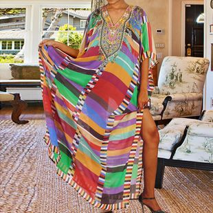 summer fashion colorful  new  block  printed robe beach long skirt bikini bikini swimsuit smock nihaojewelry wholesale NHXW217903's discount tags