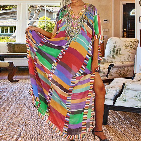summer fashion colorful  new  block  printed robe beach long skirt bikini bikini swimsuit smock nihaojewelry wholesale NHXW217903