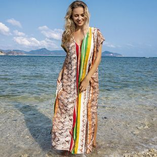 summer fashion new silk wrinkle rainbow strip  blouse seaside beach blouse swimsuit bikini outside robes  nihaojewelry wholesale NHXW217904's discount tags