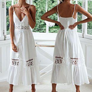 summer fashion new sexy suspender lace long skirt beach skirt vacation long skirt bikini blouse sunscreen dress nihaojewelry wholesale NHXW217906's discount tags