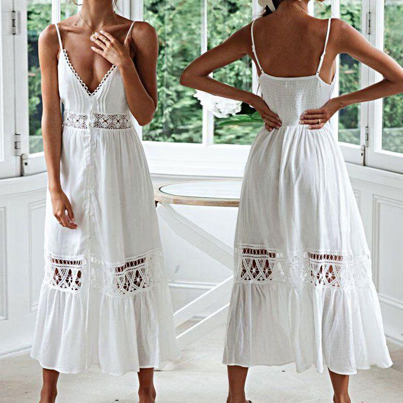 summer fashion new sexy suspender lace long skirt beach skirt vacation long skirt bikini blouse sunscreen dress nihaojewelry wholesale NHXW217906