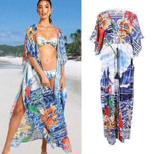 summer fashion  sailing printing rayon cardigan loose sunscreen clothing beach jacket bikini swimsuit smock  nihaojewelry wholesale NHXW217908's discount tags