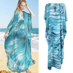 summer fashion thin  new blue blooming loose long skirt beach sunscreen suit swimsuit blouse jacket seaside holiday dress  nihaojewelry wholesale NHXW217909's discount tags