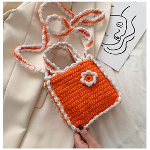 fashion  woven small bag art small fresh girl straw bag crocheted small flower series handmade wool coin purse wholesale NHGA217978's discount tags