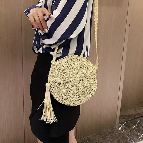 Straw bag hand-woven tassel  bag shoulder messenger beach bag vacation Mori female small round bag wholesale nihaojewelry NHGA217979's discount tags