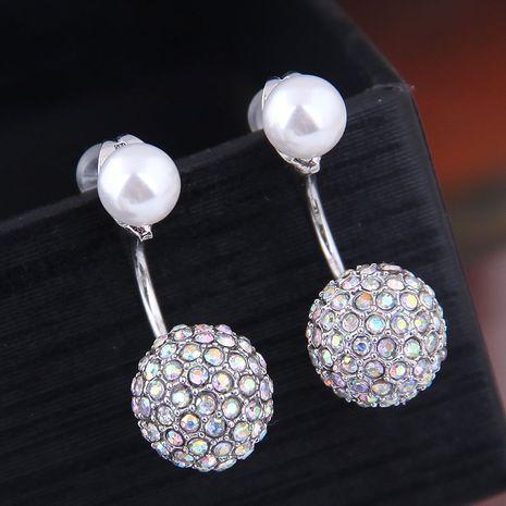 exquis 925 argent aiguille mode coréenne doux incrusté de zirconium perles lumineuses personnalité boucle d'oreille en gros NHSC218102's discount tags