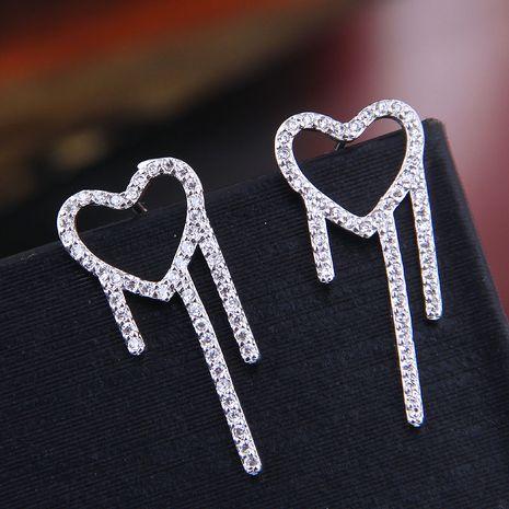 Exquis 925 argent post coréen mode doux zirconium amour personnalité boucles d'oreilles en gros NHSC218097's discount tags