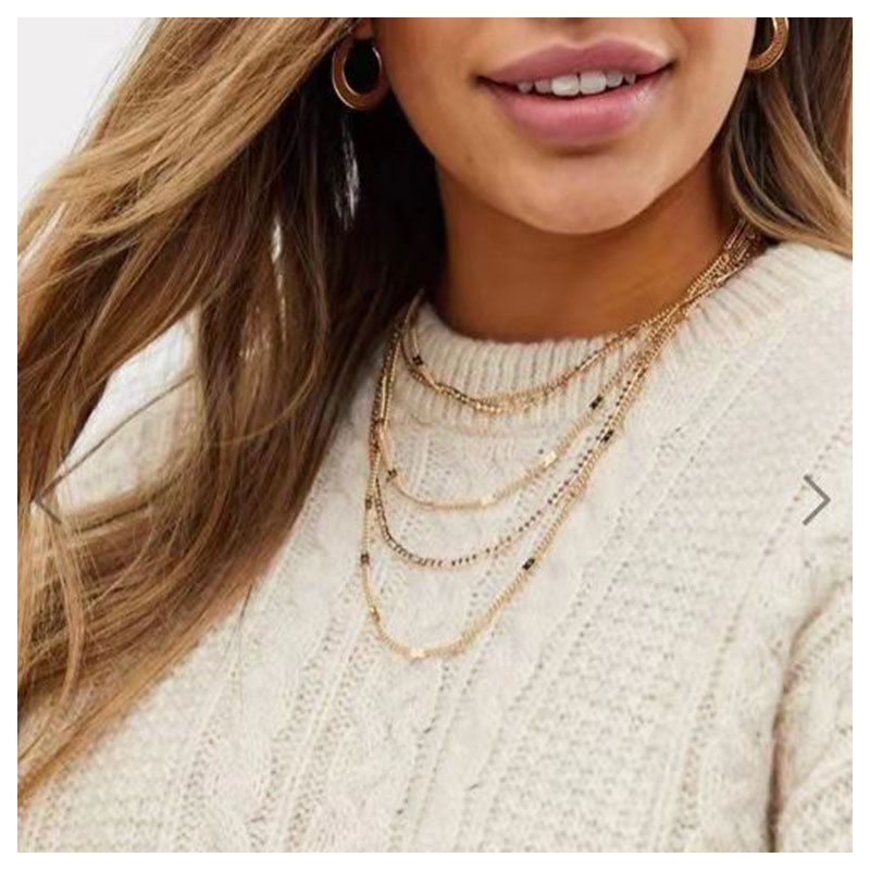 fashion alloy necklace wholesale fashion new sweater chain multi-layer necklace wholesale nihaojewelry NHCT218003