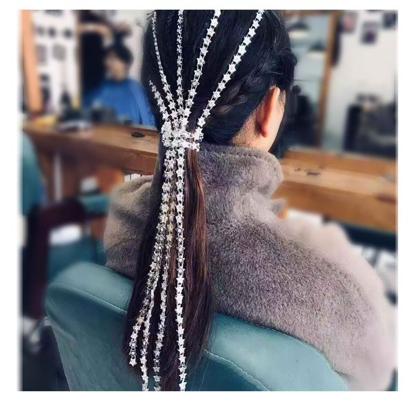 fashion hair accessories pentagram with diamond hair accessories tassel hair clip wholesale nihaojewelry NHCT218044