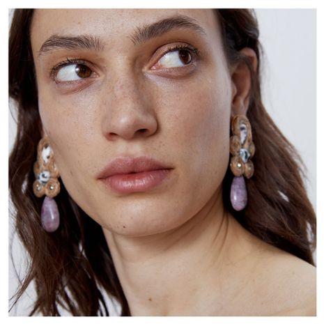 boucles d'oreilles tissées à la main corde exagérée rétro boucles d'oreilles en résine goutte d'eau en gros nihaojewelry NHCT218053's discount tags