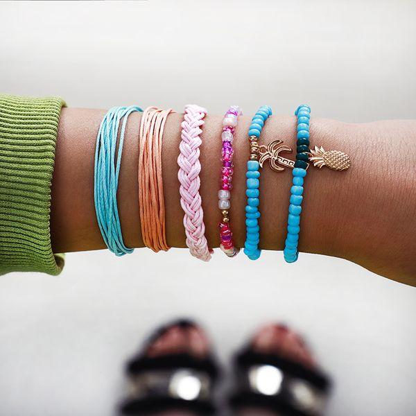 New Bracelet Set National Wind Wax Line Weave Beaded Coconut Pineapple Bracelet nihaojewelry wholesale NHGY218055