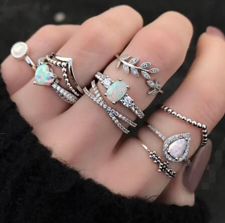 new ring personality geometric gemstone drop diamond joint ring opal leaf ring 9 piece set wholesale nihaojewelry NHGY218058