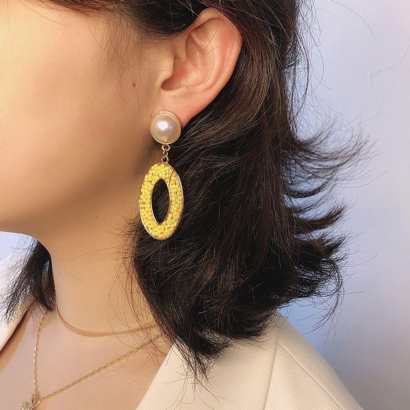 fashion bead earrings boho creative geometric oval hollow pearl earrings wholesale nihaojewelry NHMD218064