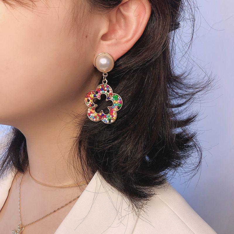 fashion wild flower earrings boho color rice beads geometric hollow flower earrings wholesale nihaojewelry NHMD218065