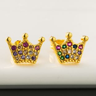 Explosive Style Fashion Personality Crown Earrings Brass Micro-Set Color Zircon Stud Earrings Exquisite Temperament Ear Jewelry wholesale nihaojewelry NHLN218070's discount tags