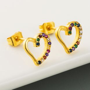 hot fashion simple earrings copper plated real gold micro-set color zircon geometric heart-shaped earrings wholesale nihaojewelry NHLN218072's discount tags