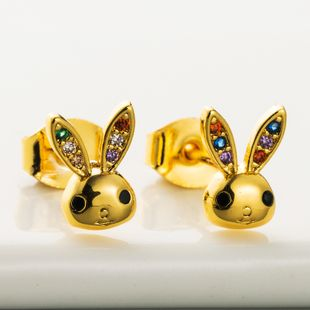 new cute golden rabbit earrings micro-set zircon hypoallergenic copper earrings fashion personality earrings wholesale nihaojewelry NHLN218073's discount tags