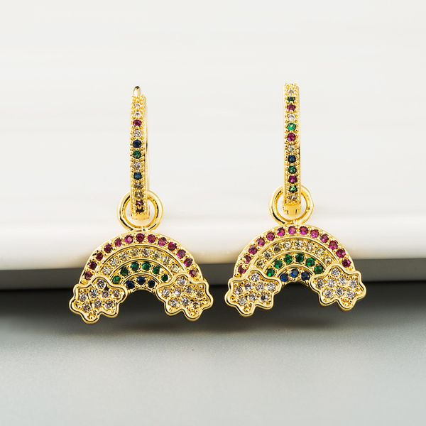 Korean trendy temperament simple rainbow earrings colored zircon high-quality niche thin and long earrings wholesale nihaojewelry NHLN218074