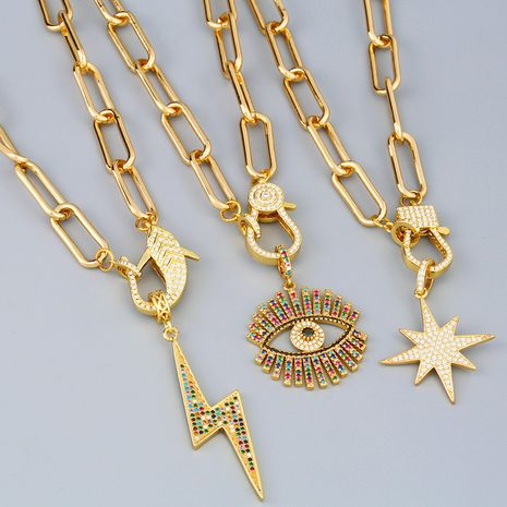 necklace thick chain necklace rainbow pendant necklace colorful zircon Hiphop necklace wholesale NHAS218076's discount tags