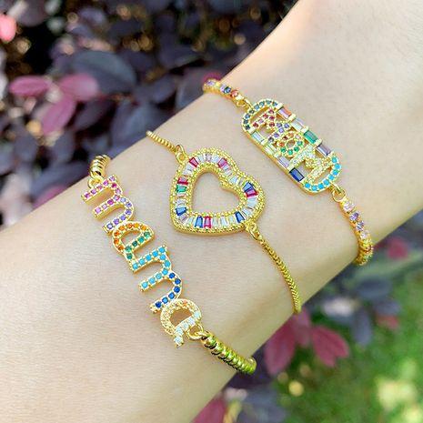 bracelet alphabet mama bracelet wind love heart crystal bracelet wholesale nihaojewelry NHAS218079's discount tags