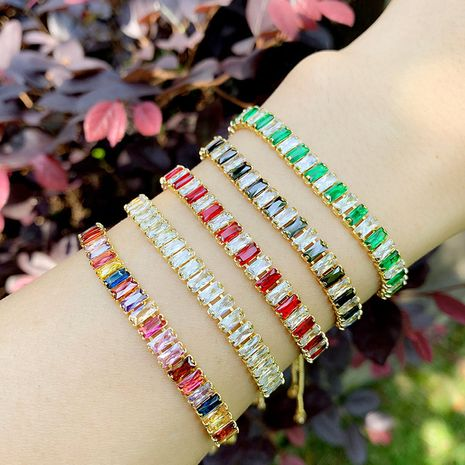 fashion colorful bracelet copper plated 18K gold bracelet colorful crystal bracelet couple bracelet wholesale nihaojewelry NHAS218080's discount tags