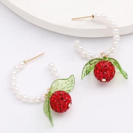 Mode diamants bayberry ananas en forme de C boucles d'oreilles perles d'été fruits vent boucles d'oreilles en gros nihaojewelry NHJE218091's discount tags