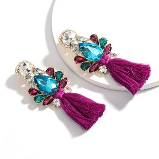 hot-selling multi-layer drop-shaped rhinestone glass diamond tassel earrings wholesale nihaojewelry  NHJE218093's discount tags