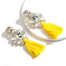 hotselling multilayer dropshaped rhinestone glass diamond tassel earrings wholesale nihaojewelry  NHJE218093