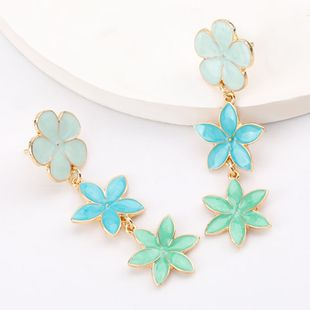 hot sale fashion multi-layer alloy drip flower earrings wholesale nihaojewelry NHJE218094's discount tags