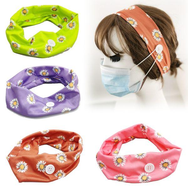 fashion daisy hair band button turban ear anti-hanging headband epidemic protection wide headband sports turban NHDQ218111