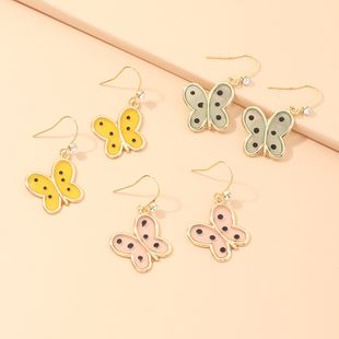 fashion jewelry small alloy oil butterfly earrings wild temperament small butterfly earrings wholesale nihaojewelry NHNZ218123's discount tags