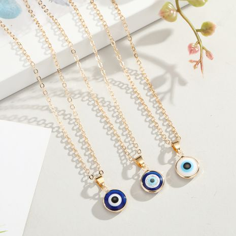 Turkish blue eyes pendant necklace nihaojewelry wholesale wild wrapping edge eyes necklace ladies  accessories NHGO218137's discount tags