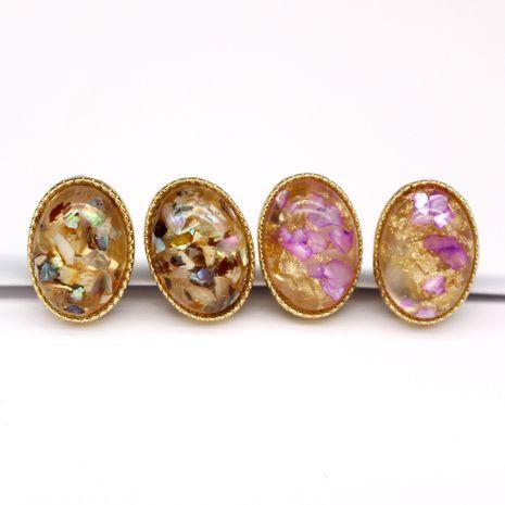 Boucles d'oreilles coréenne boucles d'oreilles coquille ovale petites boucles d'oreilles feuille d'or coloré boucles d'oreilles en résine Yiwu nihaojewelry NHGO218139's discount tags