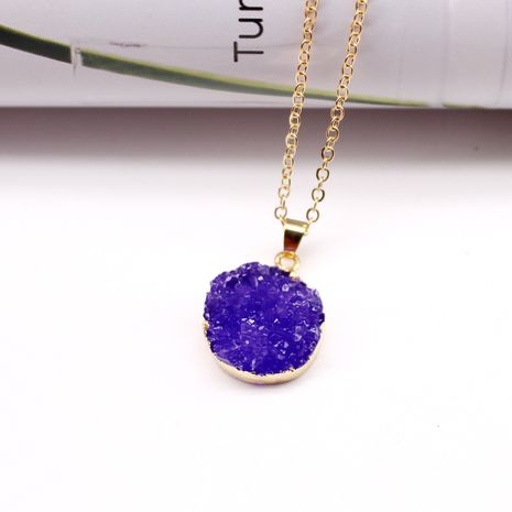 simple imitation amethyst round necklace new imitation natural stone pendant necklace resin necklace nihaojewelry wholesale NHGO218142's discount tags