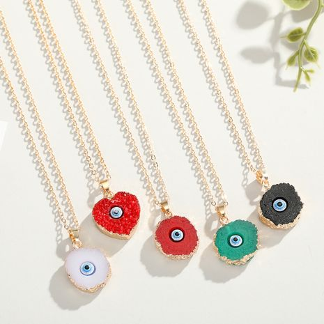 new color eye pendant necklace nihaojewelry wholesale imitation natural stone love resin necklace Yiwu NHGO218143's discount tags