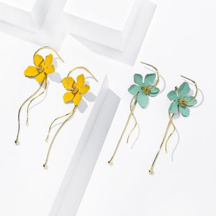 summer simple sweet flower earrings 925 silver needle trendy earrings long tassel personality earrings wholesale nihaojewelry NHPP218150's discount tags