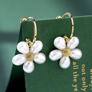 fresh sweet white flowers simple earrings 925 silver needle atmosphere new women's earrings NHPP218153's discount tags