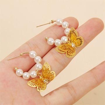 Korean handmade pearl three-dimensional cute butterfly earrings girls earrings trend insect earring jewelry wholesale nihaojewelry NHLA218165