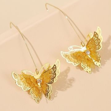 Korean three-dimensional multilayer butterfly earrings personality trend insect earrings jewelry wholesale nihaojewelry NHLA218166