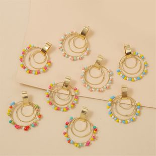 bohemian geometric round handmade rice bead earrings creative personality woven acrylic earrings jewelry wholesale nihaojewelry NHLA218167's discount tags